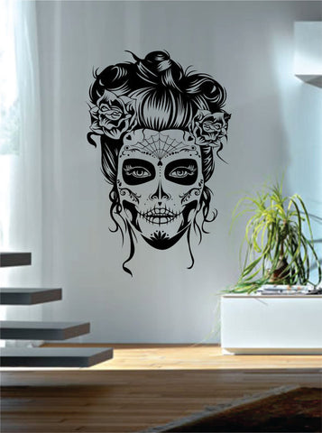 Day of the Dead Girl Version 2 Art Decal Sticker Wall Vinyl - boop decals - vinyl decal - vinyl sticker - decals - stickers - wall decal - vinyl stickers - vinyl decals