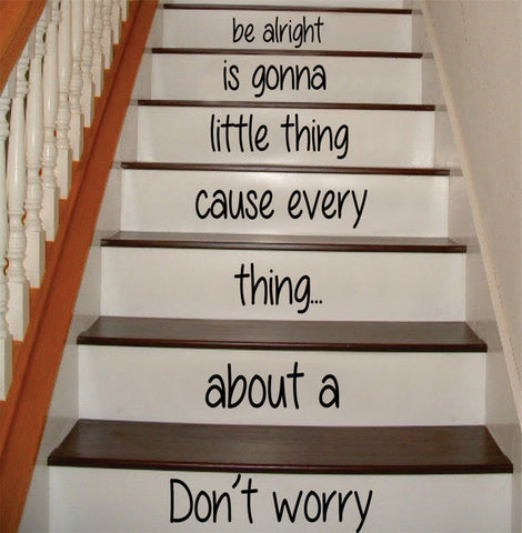 Dont Worry Bob Marley Stairs Decor Decal Sticker Wall Vinyl Art - boop decals - vinyl decal - vinyl sticker - decals - stickers - wall decal - vinyl stickers - vinyl decals