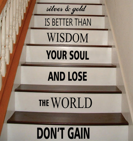 Dont Gain the World Bob Marley Stairs Decor Decal Sticker Wall Vinyl Art - boop decals - vinyl decal - vinyl sticker - decals - stickers - wall decal - vinyl stickers - vinyl decals