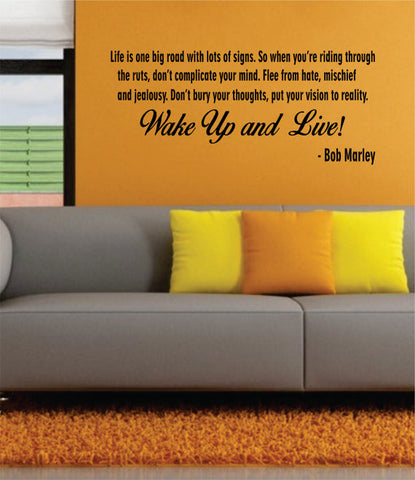 Bob Marley Wake Up and Live Version 2 Decal Quote Sticker Wall Vinyl Art Decor - boop decals - vinyl decal - vinyl sticker - decals - stickers - wall decal - vinyl stickers - vinyl decals
