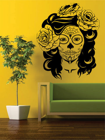 Day of the Dead Girl EXTRA LARGE Skull Art Decal Sticker Wall Vinyl - boop decals - vinyl decal - vinyl sticker - decals - stickers - wall decal - vinyl stickers - vinyl decals