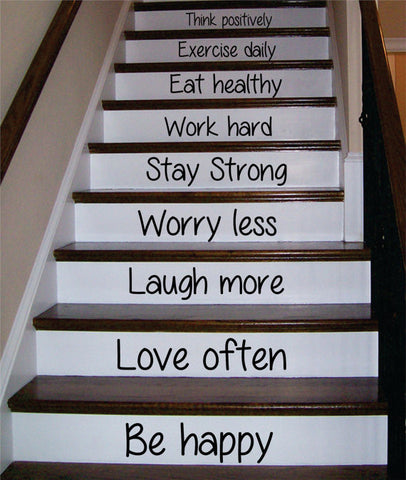 Be Happy Love Often Stairs Decor Decal Sticker Wall Vinyl Art - boop decals - vinyl decal - vinyl sticker - decals - stickers - wall decal - vinyl stickers - vinyl decals