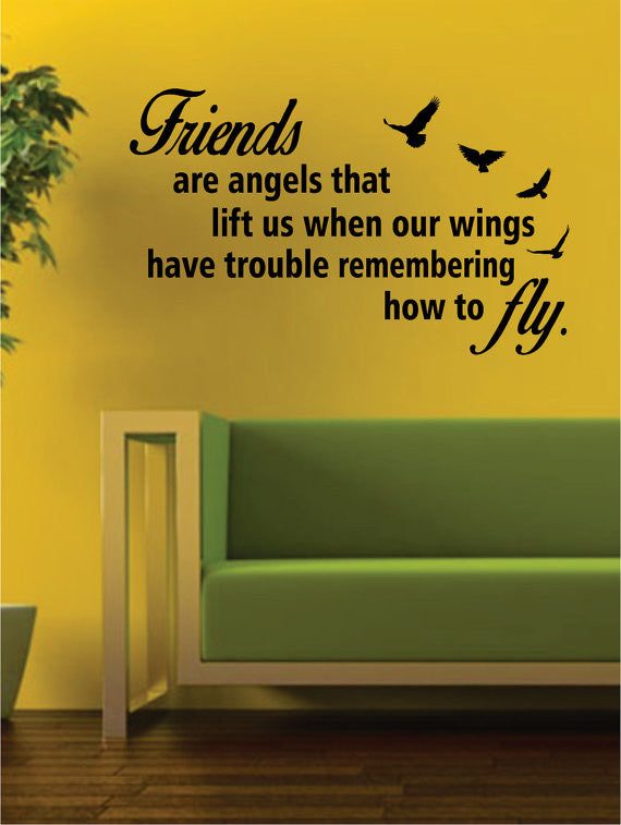Friends Are Angels Quote Decal Sticker Wall Vinyl Decor Art – boop ...