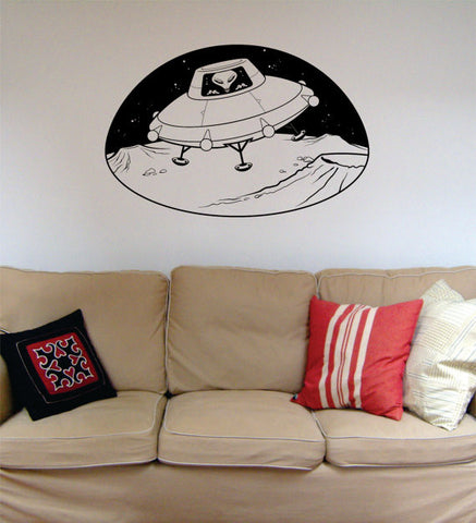 Alien in UFO Space Scene Decal Sticker Wall Vinyl Art Home Room Decor - boop decals - vinyl decal - vinyl sticker - decals - stickers - wall decal - vinyl stickers - vinyl decals