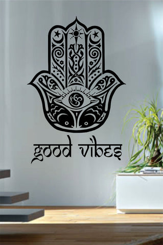 Good Vibes Hamsa Hand Version 3 Decal Sticker Wall Vinyl - boop decals - vinyl decal - vinyl sticker - decals - stickers - wall decal - vinyl stickers - vinyl decals