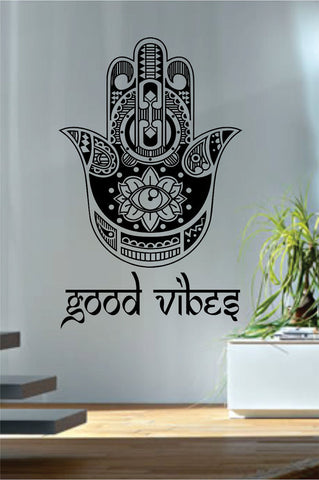 Good Vibes Hamsa Hand Version 4 Decal Sticker Wall Vinyl - boop decals - vinyl decal - vinyl sticker - decals - stickers - wall decal - vinyl stickers - vinyl decals
