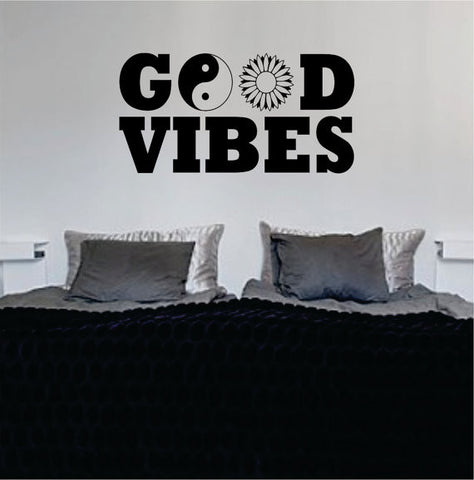 Good Vibes Yin Yang Flower Quote Decal Sticker Wall Vinyl - boop decals - vinyl decal - vinyl sticker - decals - stickers - wall decal - vinyl stickers - vinyl decals