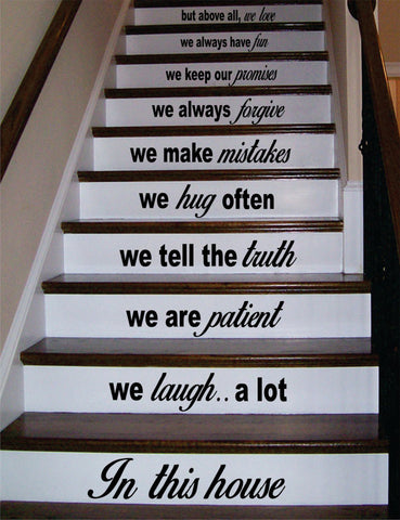 In This House Stairs Version 3 Decor Decal Sticker Wall Vinyl Art - boop decals - vinyl decal - vinyl sticker - decals - stickers - wall decal - vinyl stickers - vinyl decals