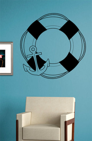 Anchor and Life Buoy Nautical Ocean Beach Decal Sticker Wall Vinyl Art Decor - boop decals - vinyl decal - vinyl sticker - decals - stickers - wall decal - vinyl stickers - vinyl decals