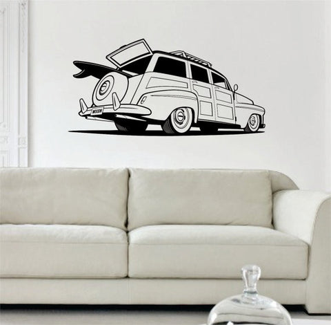 Woody Surf Car Old School Car Design Decal Sticker Wall Vinyl Decor Art - boop decals - vinyl decal - vinyl sticker - decals - stickers - wall decal - vinyl stickers - vinyl decals