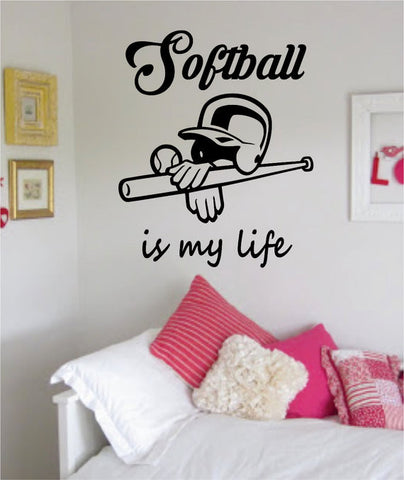Softball Is My Life Version 1 Sports Decal Sticker Wall Vinyl - boop decals - vinyl decal - vinyl sticker - decals - stickers - wall decal - vinyl stickers - vinyl decals