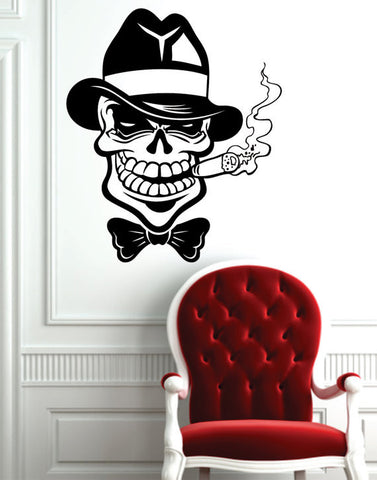Mafia Cigar Skull Design Art Decal Sticker Wall Vinyl - boop decals - vinyl decal - vinyl sticker - decals - stickers - wall decal - vinyl stickers - vinyl decals