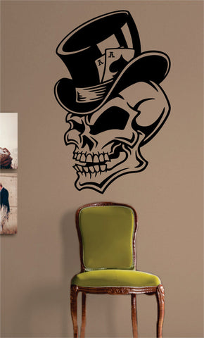Ace of Spades Skull Tophat Art Decal Sticker Wall Vinyl - boop decals - vinyl decal - vinyl sticker - decals - stickers - wall decal - vinyl stickers - vinyl decals