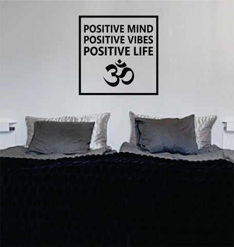 Positive Mind Vibes Life Om Simple Square Design Quote Decal Sticker Wall Vinyl Decor Art