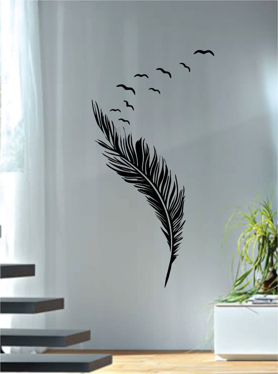 Feather with birds design animal decal sticker wall vinyl decor art boop decals vinyl