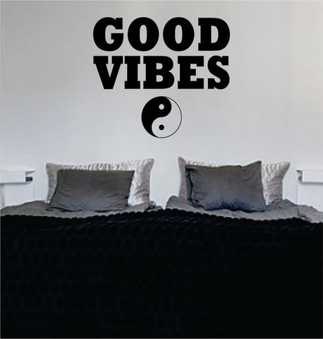 Good Vibes Yin Yang Version 4 Design Quote Decal Sticker Wall Vinyl - boop decals - vinyl decal - vinyl sticker - decals - stickers - wall decal - vinyl stickers - vinyl decals