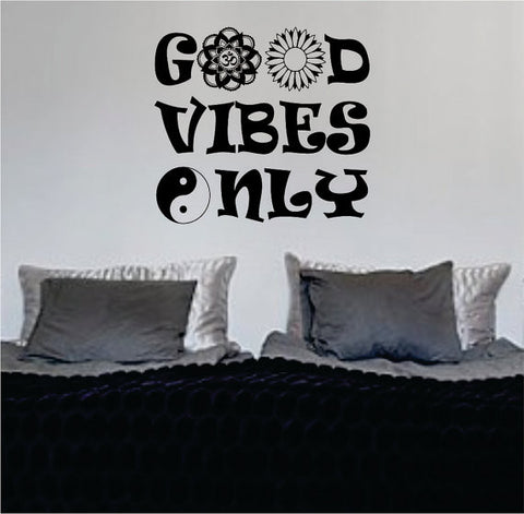 Good Vibes Mandala Flower Version 6 Design Quote Decal Sticker Wall Vinyl - boop decals - vinyl decal - vinyl sticker - decals - stickers - wall decal - vinyl stickers - vinyl decals
