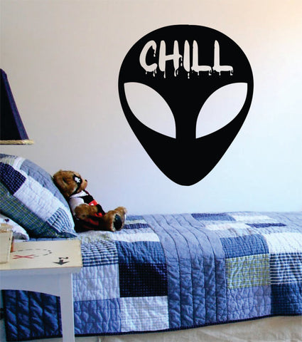 Alien Chill Head Design Outer Space Decal Sticker Wall Vinyl Art Home Room Decor - boop decals - vinyl decal - vinyl sticker - decals - stickers - wall decal - vinyl stickers - vinyl decals