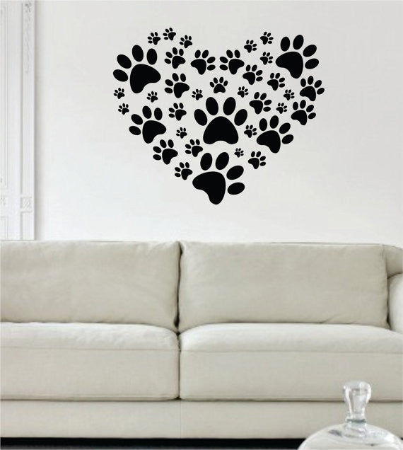 Dog Paw Print Heart Design Decal Sticker Wall Vinyl Decor Art U2013 Boop Decals