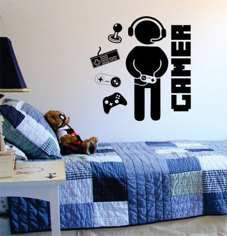 Gamer with Controller Version 2 Decal Sticker Wall Vinyl Art Decor