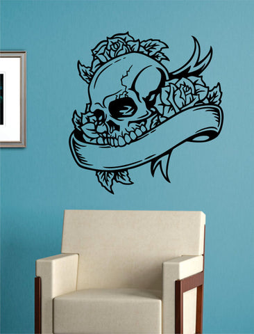 Skull Roses and Banner Art Decal Sticker Wall Vinyl - boop decals - vinyl decal - vinyl sticker - decals - stickers - wall decal - vinyl stickers - vinyl decals