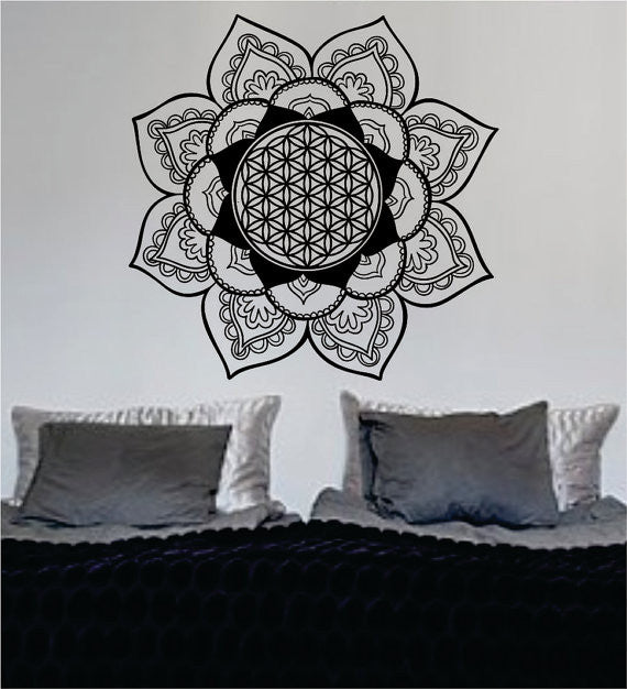 mandala flower of life version 3 sacred geometry decal sticker wall