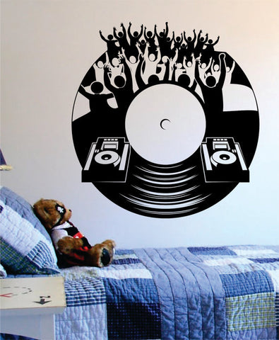 Dj Crowd Turntable Music Art Decal Sticker Wall Vinyl - boop decals - vinyl decal - vinyl sticker - decals - stickers - wall decal - vinyl stickers - vinyl decals
