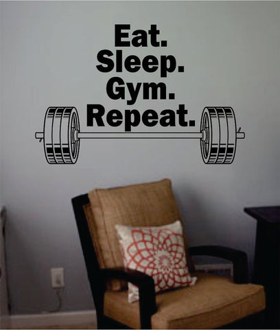 Eat Sleep Gym Repeat Quote Fitness Design Decal Sticker Wall Vinyl Art Home Room Decor - boop decals - vinyl decal - vinyl sticker - decals - stickers - wall decal - vinyl stickers - vinyl decals
