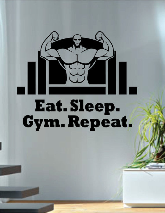 Eat sleep gym repeat version quote fitness design decal sticker