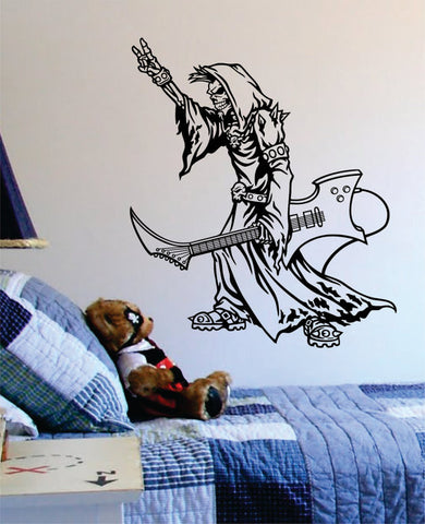 Grim Reaper Rocker Guitar Music Skull Design Decal Sticker Wall Vinyl Decor Art - boop decals - vinyl decal - vinyl sticker - decals - stickers - wall decal - vinyl stickers - vinyl decals