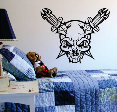 Skull with Knives through Head Art Decal Sticker Wall Vinyl - boop decals - vinyl decal - vinyl sticker - decals - stickers - wall decal - vinyl stickers - vinyl decals