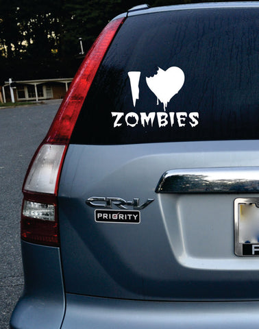 I Love Zombies Car Window Design Decal Sticker Wall Vinyl Art Decor - boop decals - vinyl decal - vinyl sticker - decals - stickers - wall decal - vinyl stickers - vinyl decals