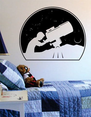 Astronomer Space Moon Stars Scene Decal Sticker Wall Vinyl Art Home Room Decor - boop decals - vinyl decal - vinyl sticker - decals - stickers - wall decal - vinyl stickers - vinyl decals