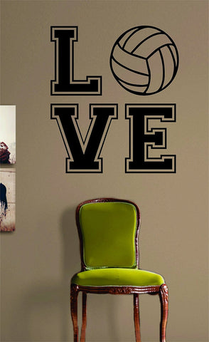 Volleyball Love V2 Quote Design Sports Decal Sticker Wall Vinyl Room Decor Decoration