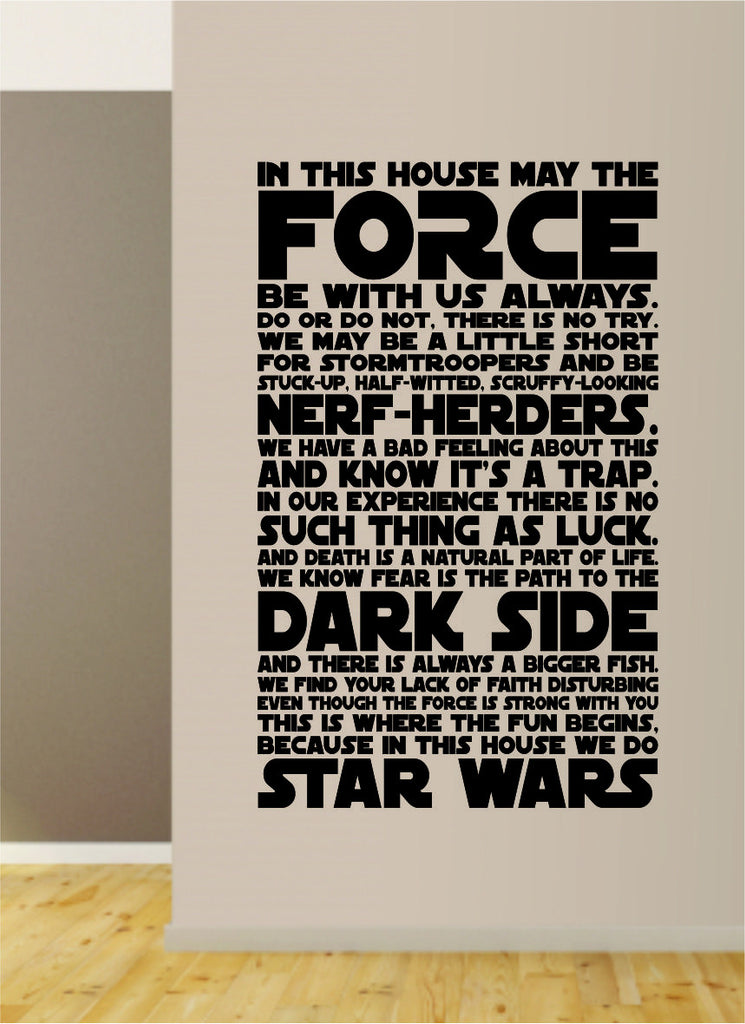 In This House Star Wars Quote Decal Sticker Wall Vinyl Decor Art