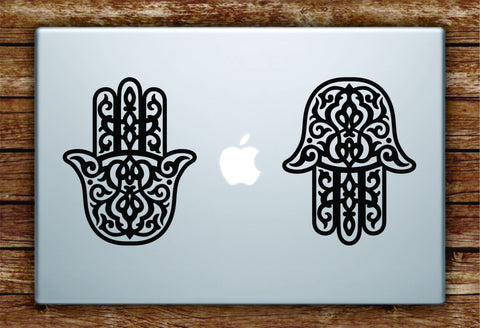 2 Hamsa Hands Laptop Decal Sticker Vinyl Art Quote Macbook Apple Decor Yoga Mandala