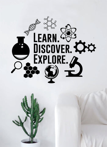 Learn Discover Explore Science Decal Sticker Wall Vinyl Art Home Room Decor Teacher School Classroomi Atom Gears DNA