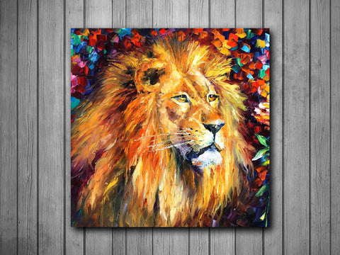 Lion Painting Art Background Photo Panel - Durable Finish - High Definition - High Gloss