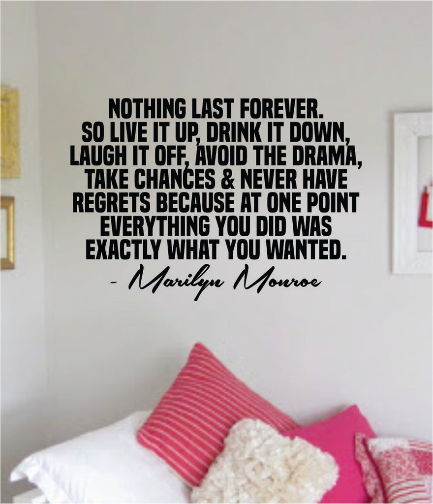 Marilyn Monroe Nothing Last Forever Quote Wall Decal Home Decor Bedroo Boop Decals