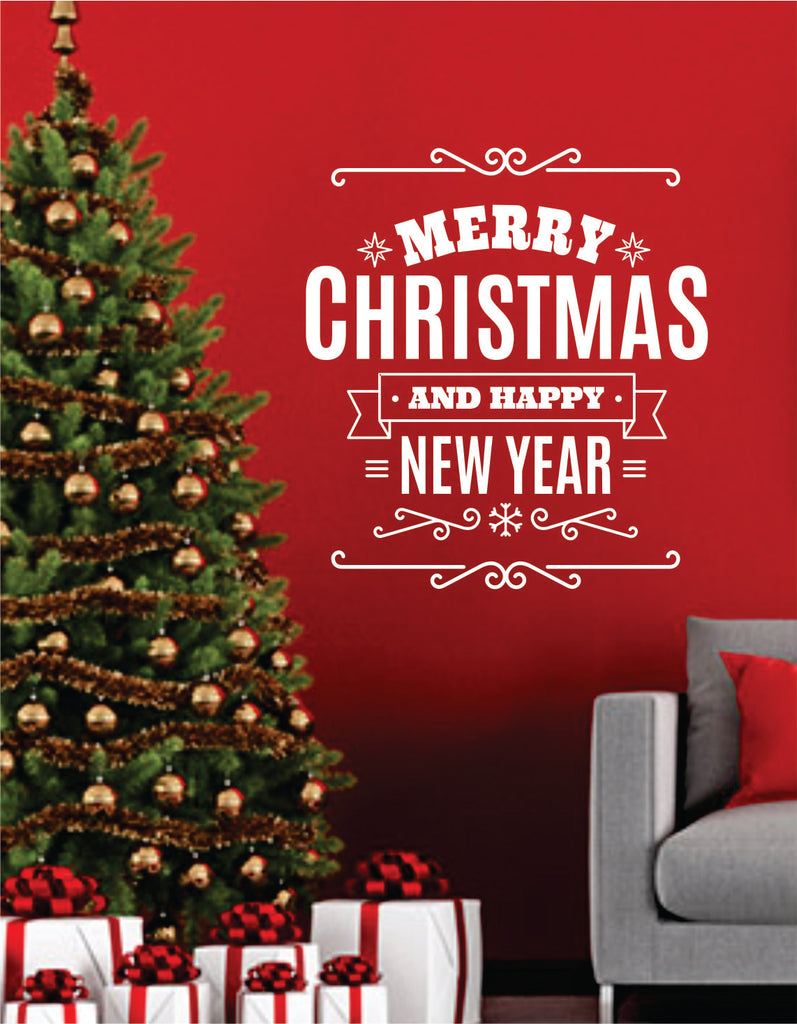 merry christmas and happy new year quote wall decal sticker bedroom living room art vinyl beautiful - Merry Christmas And Happy New Year Quotes