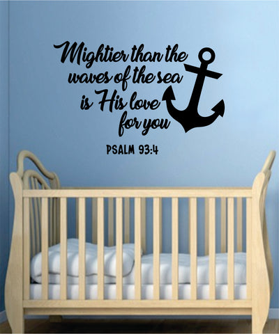Mightier Waves Sea Psalm Quote Wall Decal Sticker Bedroom Home Room Art Vinyl Inspirational Teen Decor Religious Bible Verse God Spiritual Baby Nursery
