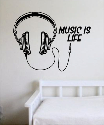 Music is Life Headphones Wall Decal Sticker Vinyl Art Bedroom Living Room Decor Teen
