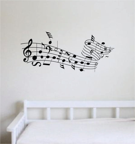 Music Notes V5 Wall Decal Home Decor Sticker Vinyl Art Room Bedroom Baby Nursery School Kids Teen Musical Instrument Piano Guitar