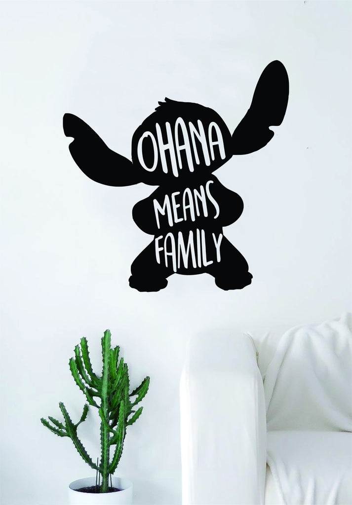 ohana means family stitch silhouette decal sticker wall vinyl decor
