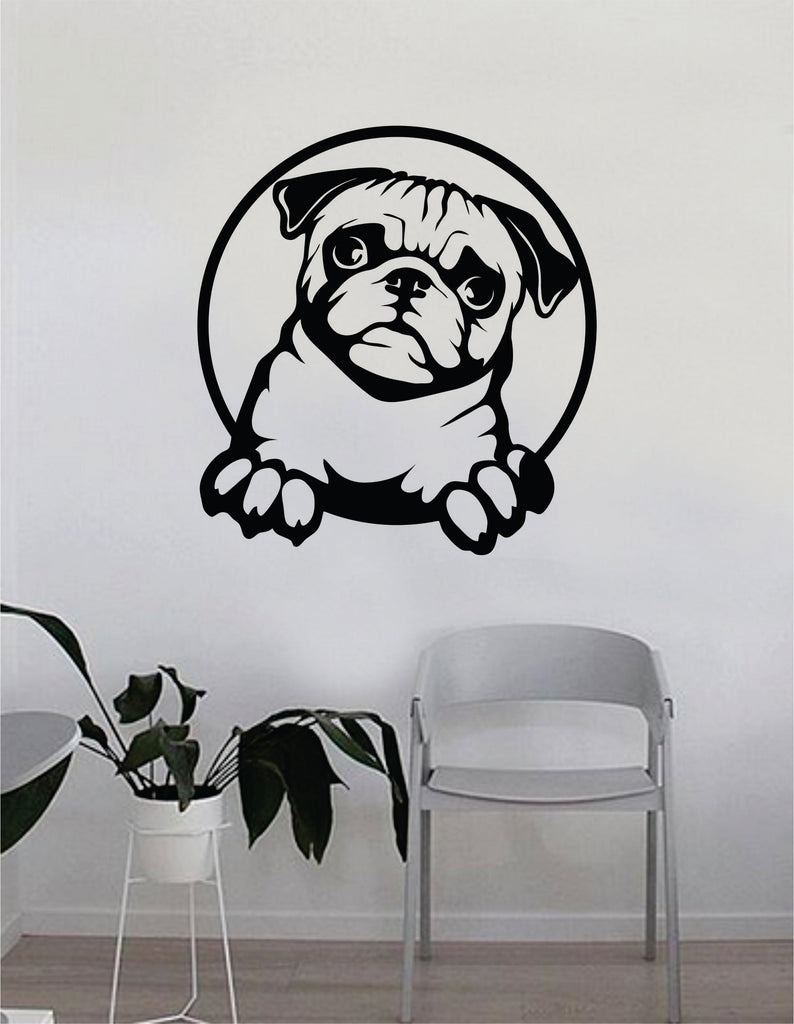 cbf77d3e294 Pug Dog Decal Sticker Wall Vinyl Art Home Living Room Bedroom Decor Te –  boop decals