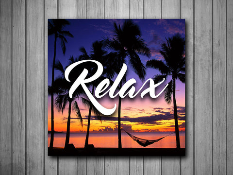 Relax Sunset Beach Quote Art Background Photo Panel - Durable Finish - High Definition - High Gloss