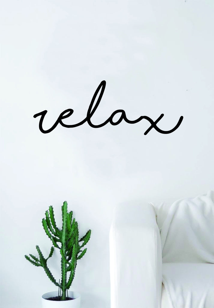 Relax Cursive Quote Wall Decal Sticker Bedroom Living Room Art - Wall decals relax