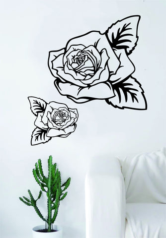 2 Roses Flower Quote Wall Decal Sticker Room Art Vinyl Beautiful Nature Cute Nursery Tattoo Decor