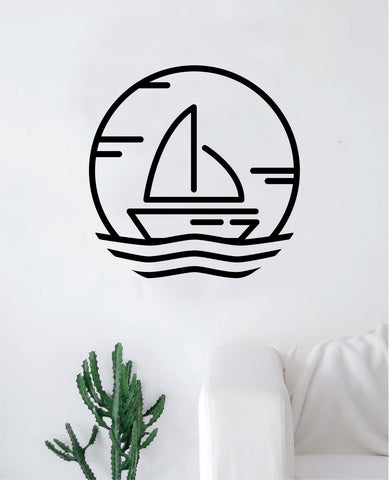 Sailboat V2 Wall Decal Decor Art Sticker Vinyl Room Bedroom Home Nursery Kids Teen Boat Ocean Beach Nautical Sea