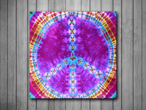 Tie Dye Peace Sign Art Background Photo Panel - Durable Finish - High Definition - High Gloss
